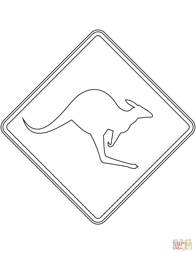 Kangaroos Sign in Australia coloring page  Free Printable