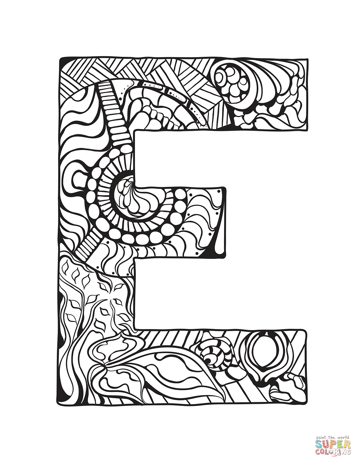 Letter E Zentangle Coloring Page