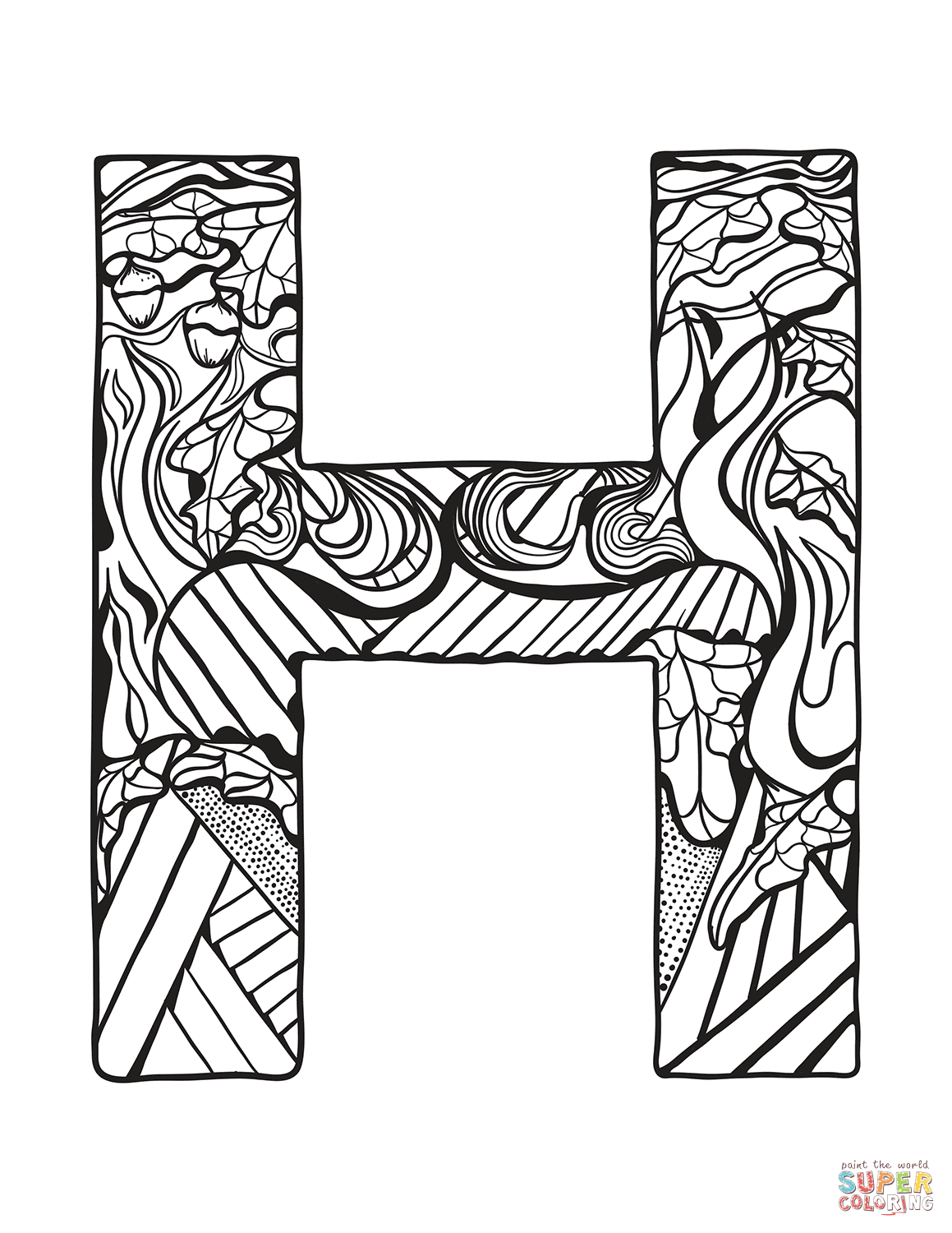 Letter H Zentangle Coloring Page