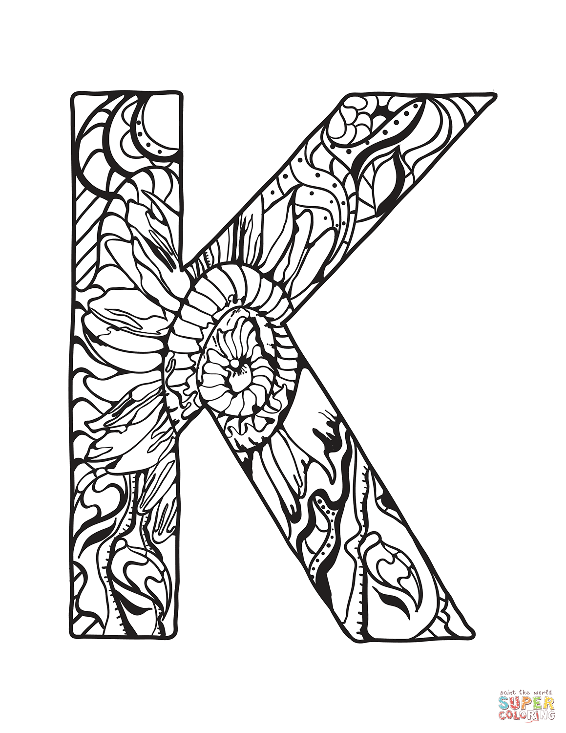 Letter K Zentangle Coloring Page