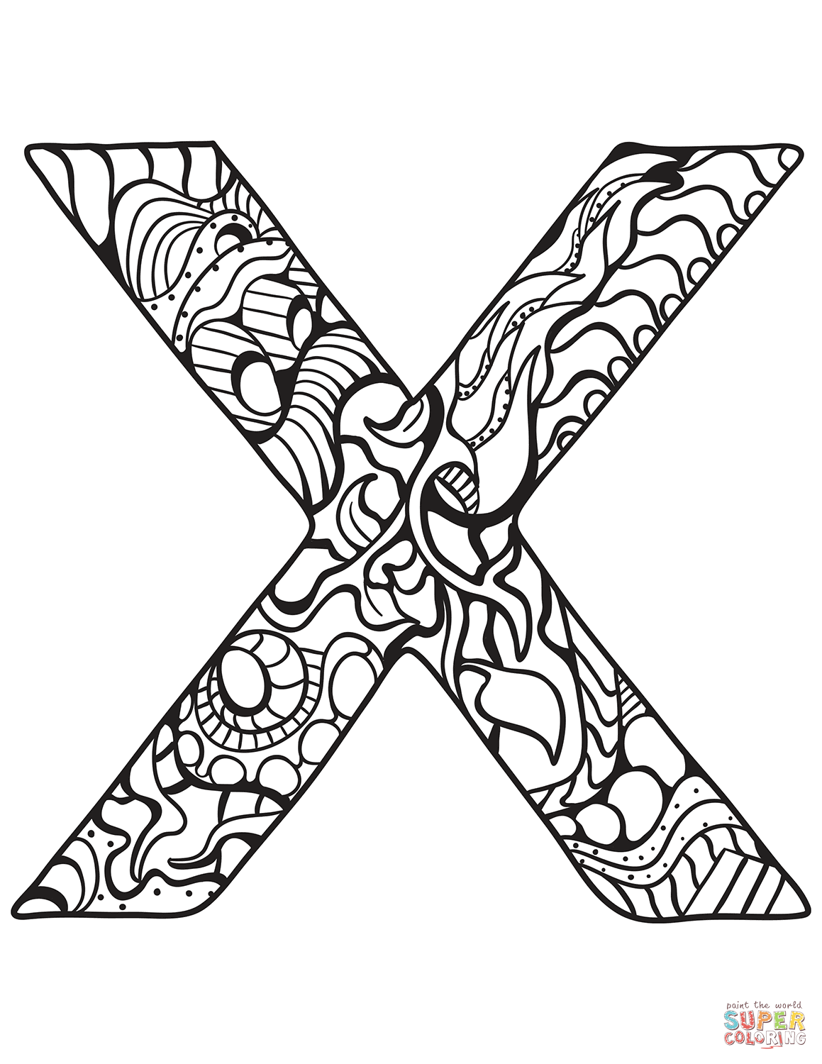 Letter X Zentangle Coloring Page