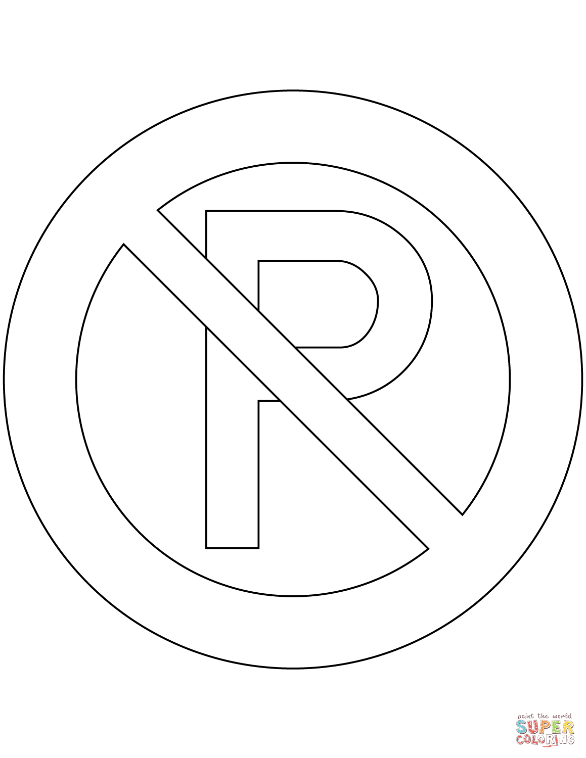 No Parking Sign In New Zealand Coloring Page