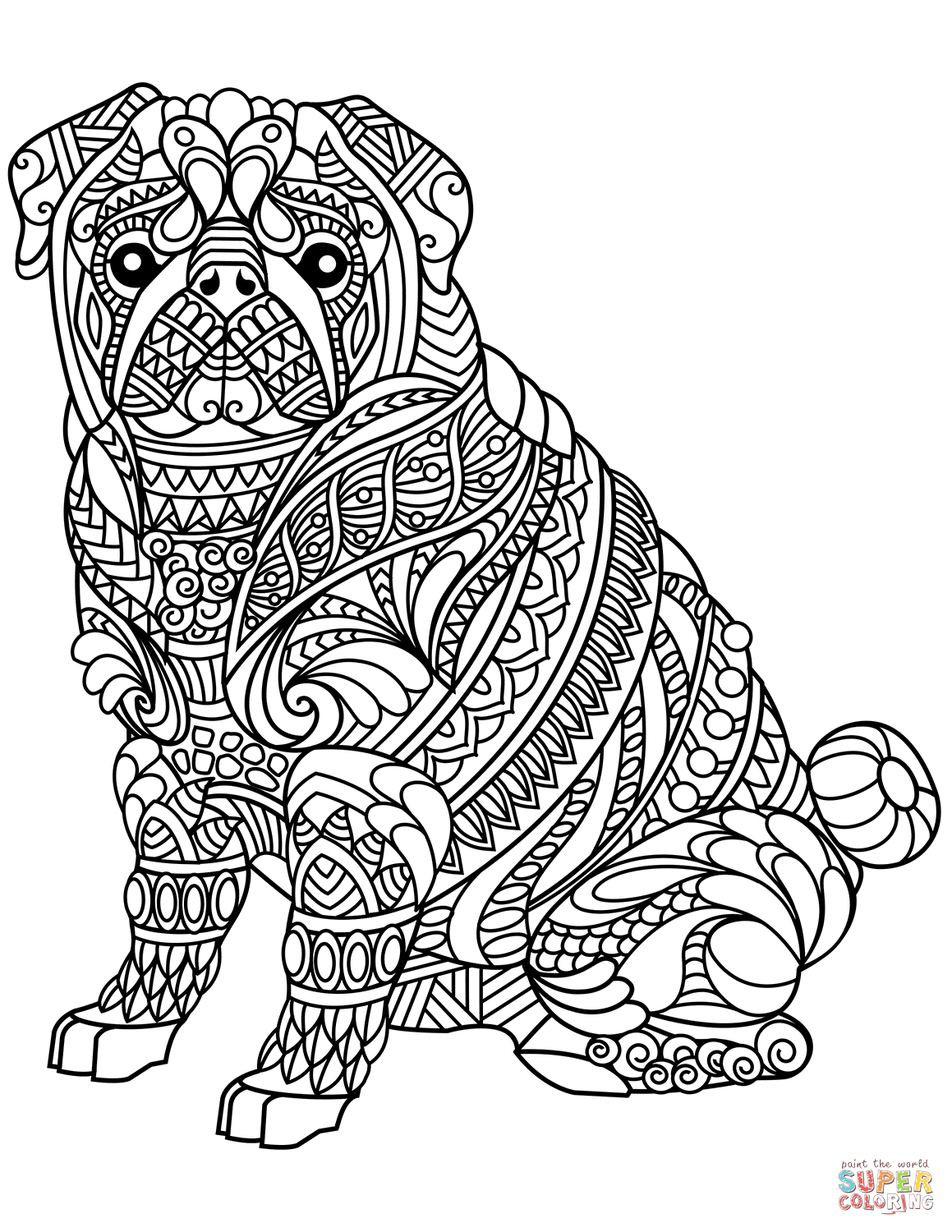 Pug Dog Zentangle Coloring Page