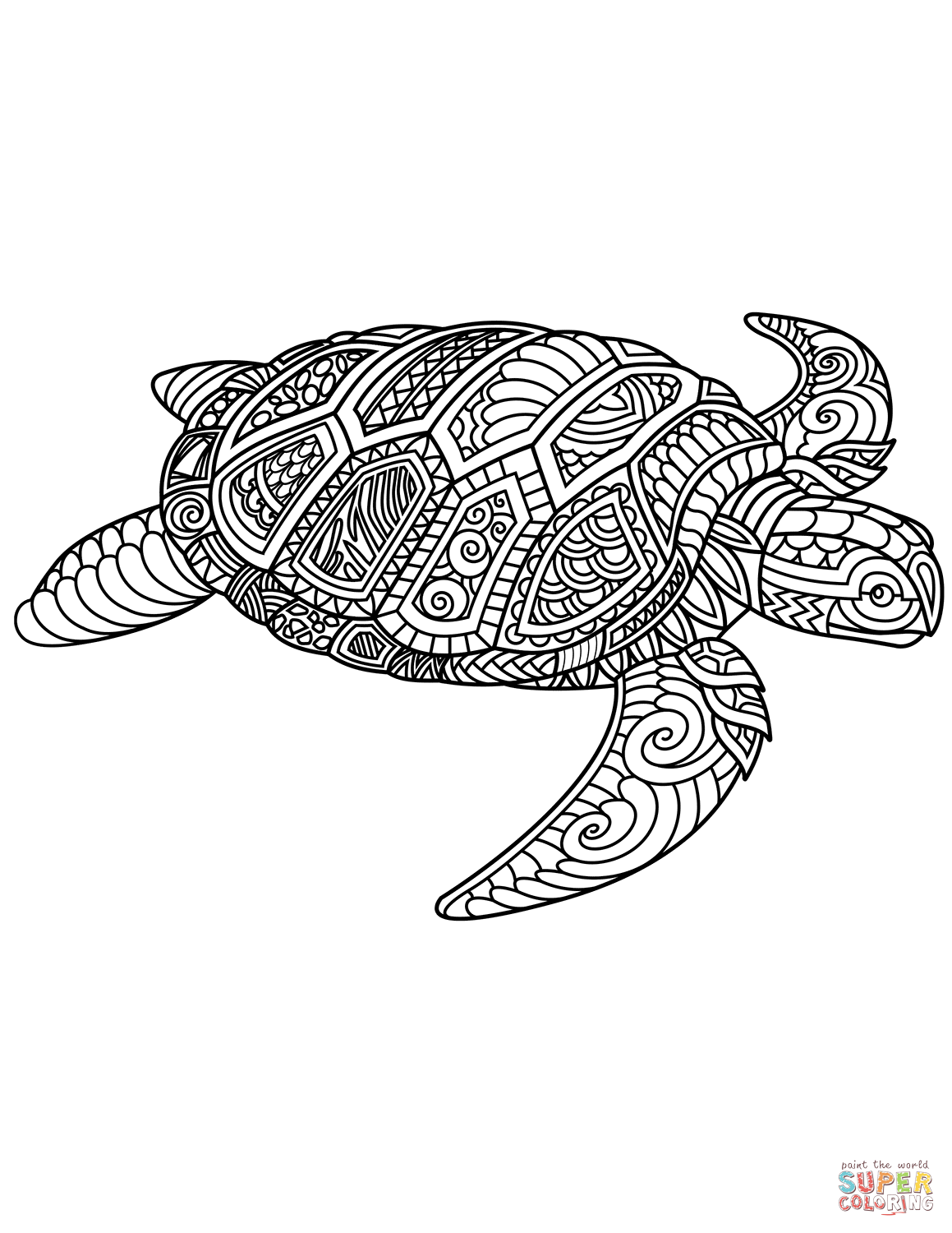 Sea Turtle Zentangle Coloring Page