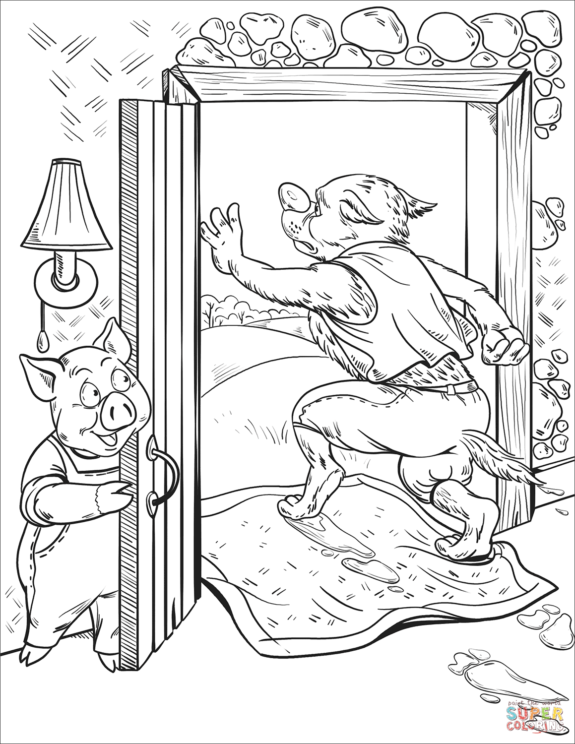 The Wolf Run Away From The Brick House Coloring Page