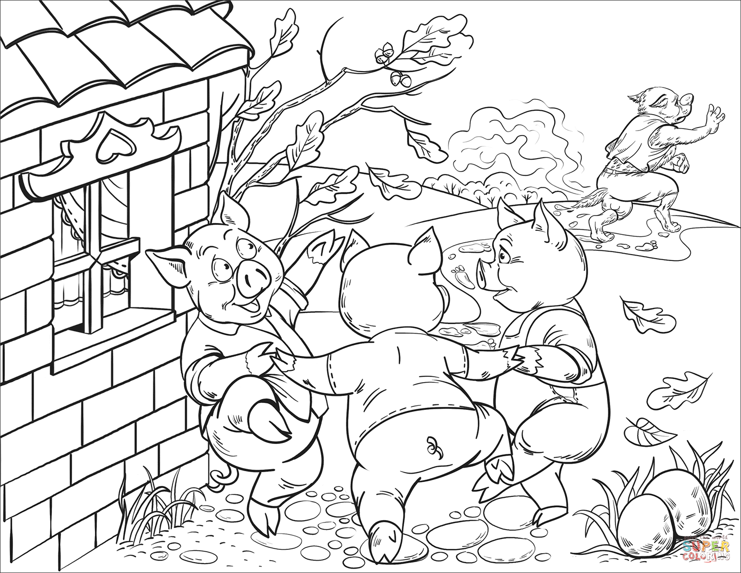 Happy Three Little Pigs Dancing Coloring Page