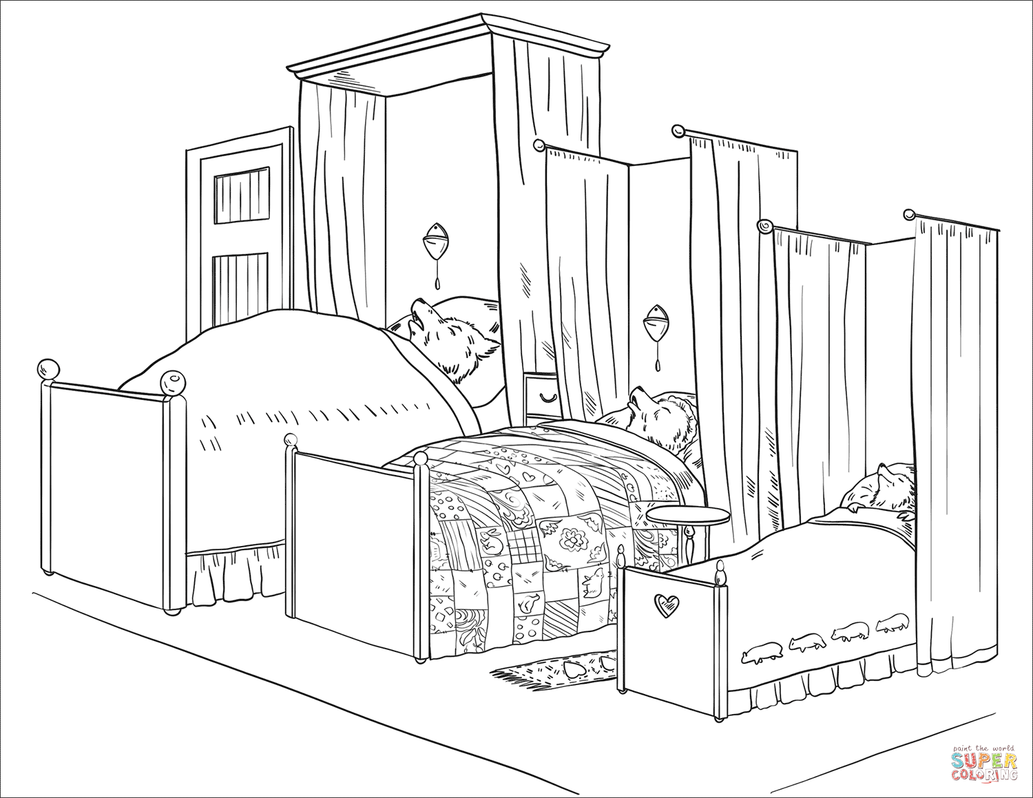 Three Bears Sleep In Their Beds Coloring Page