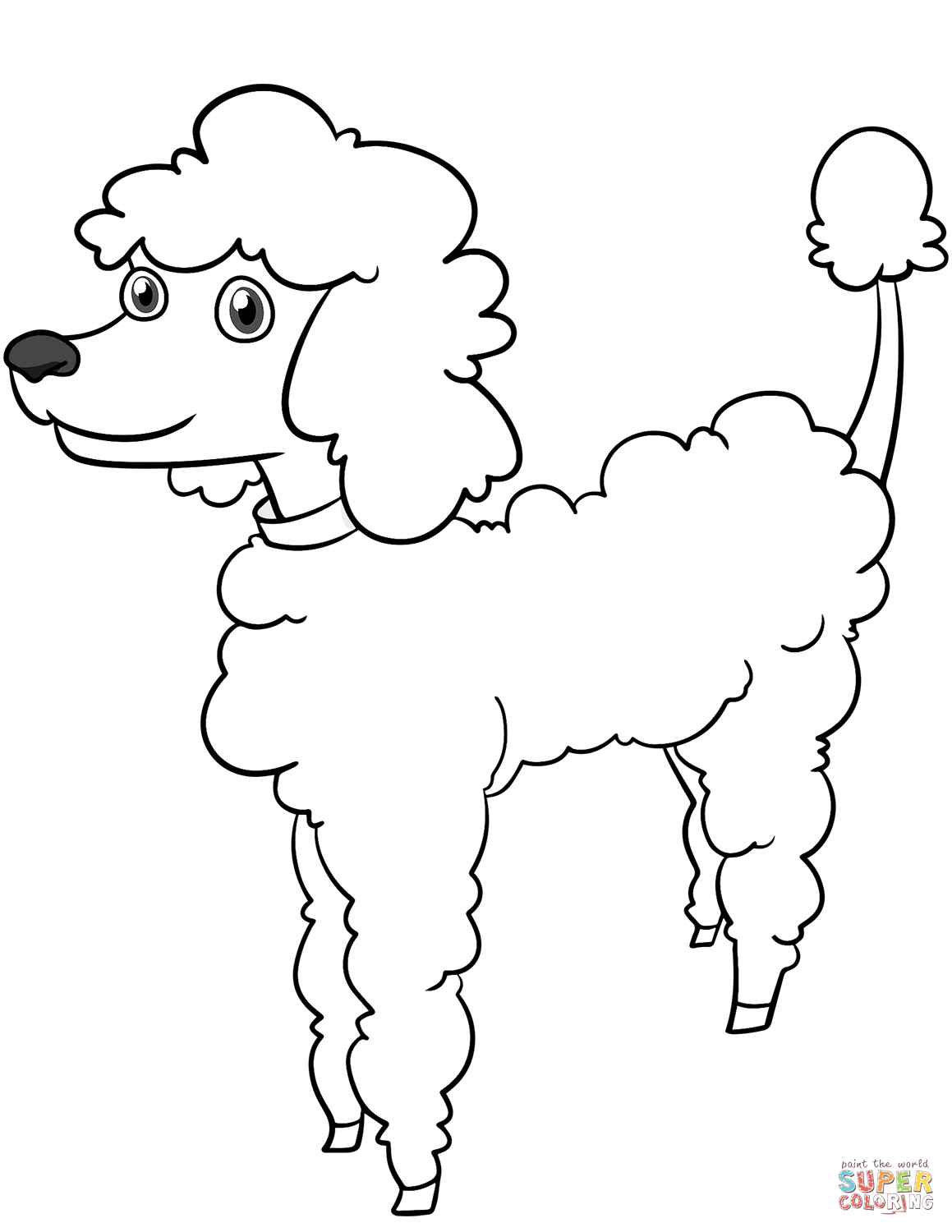 Cartoon Poodle Coloring Page