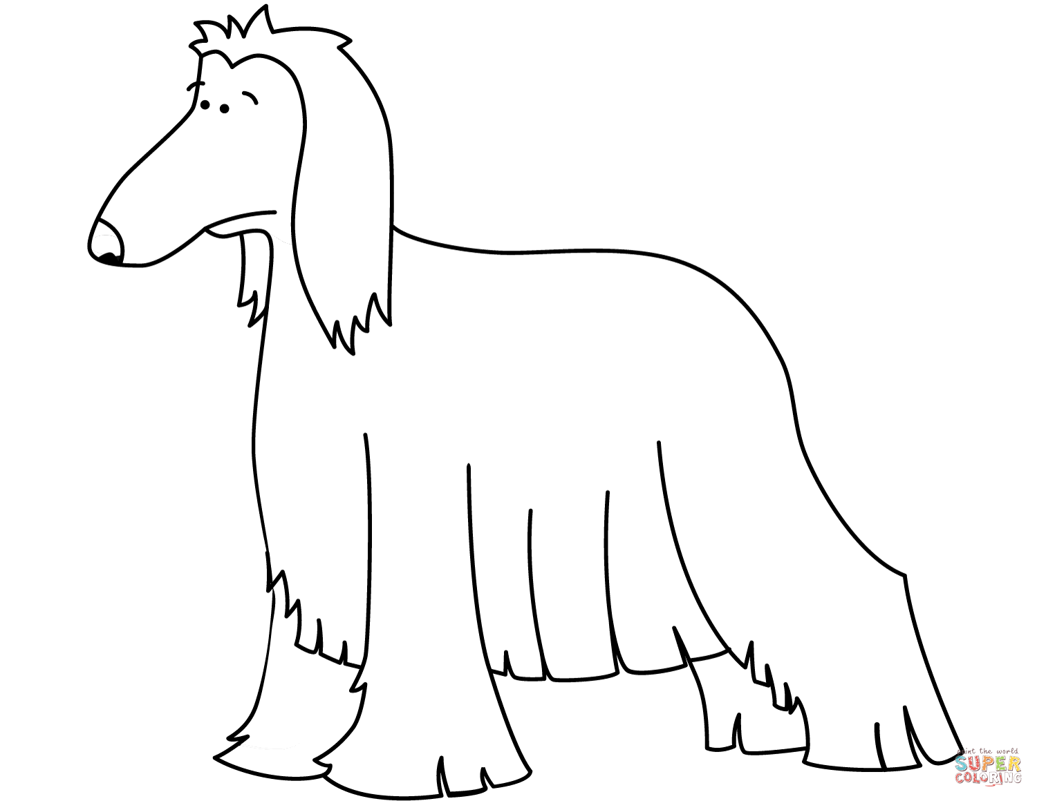 Funny Afghan Hound Coloring Page