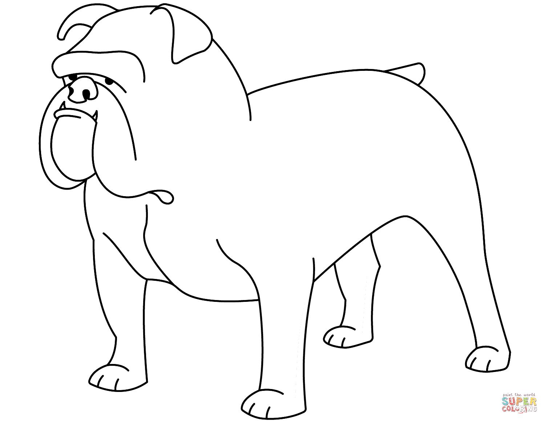 Funny Bulldog Coloring Page