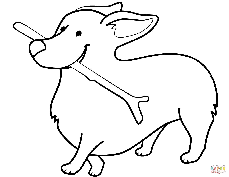 Funny Corgi Holding Stick Coloring Page