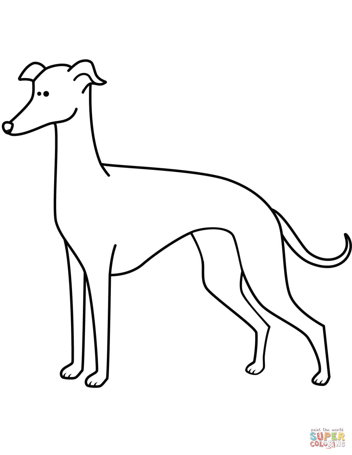 Funny Greyhound Coloring Page