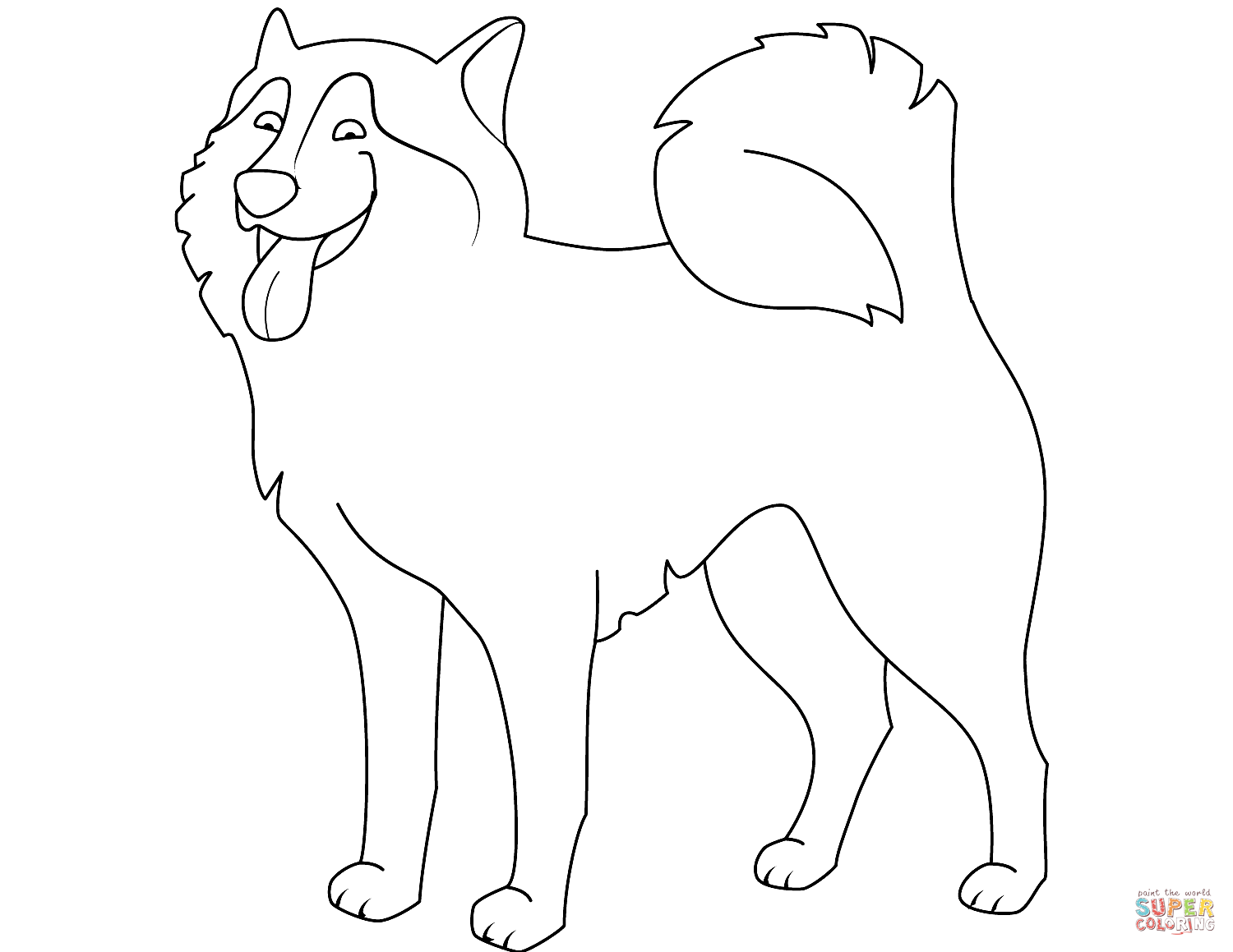 Funny Husky Coloring Page