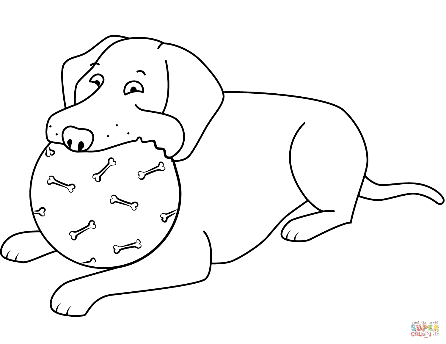 Funny Labrador Retriever Playing Ball Coloring Page