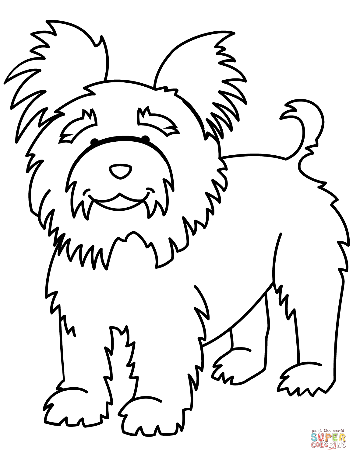 Funny Yorkshire Terrier Coloring Page