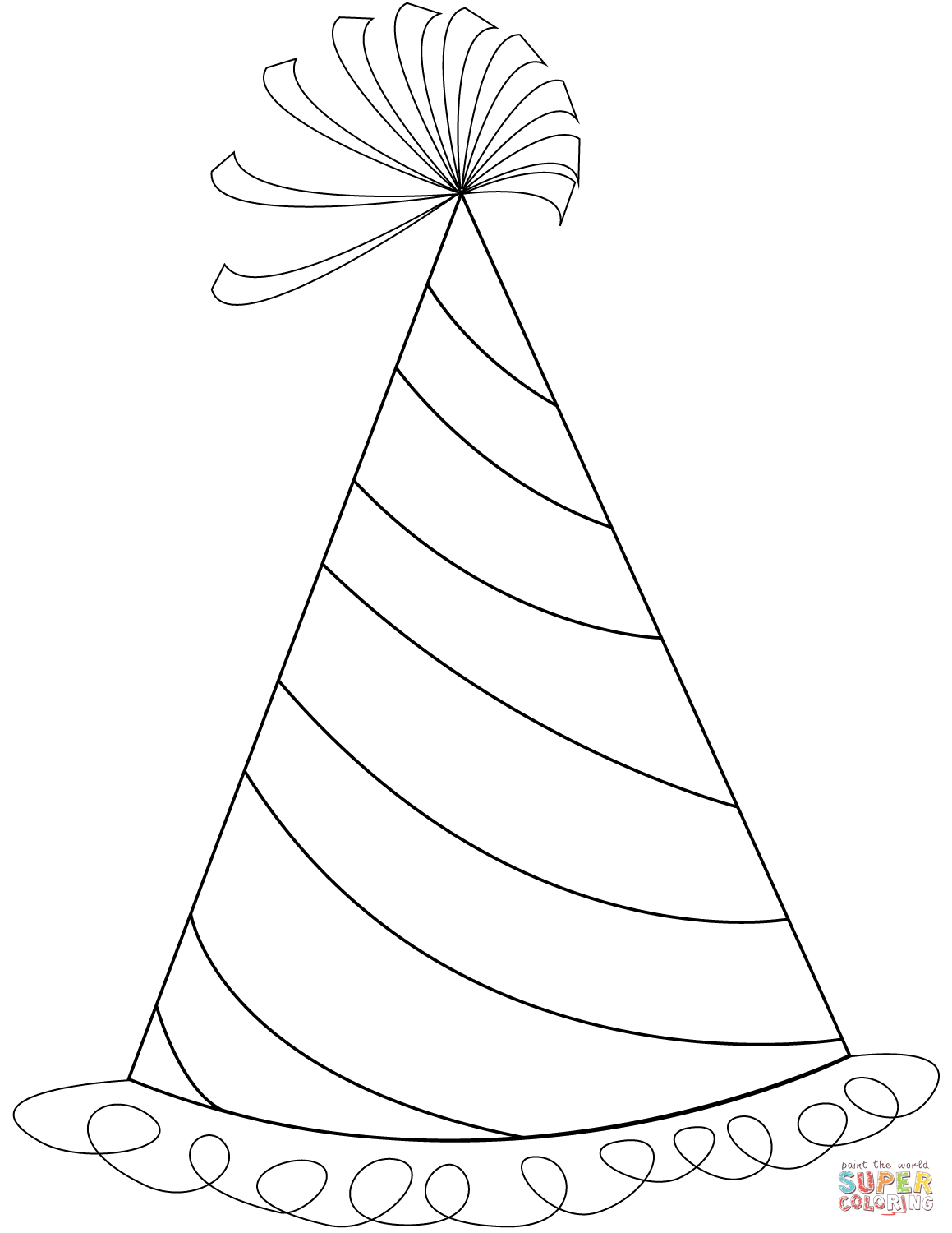 Happy Birthday Party Hat Coloring Page
