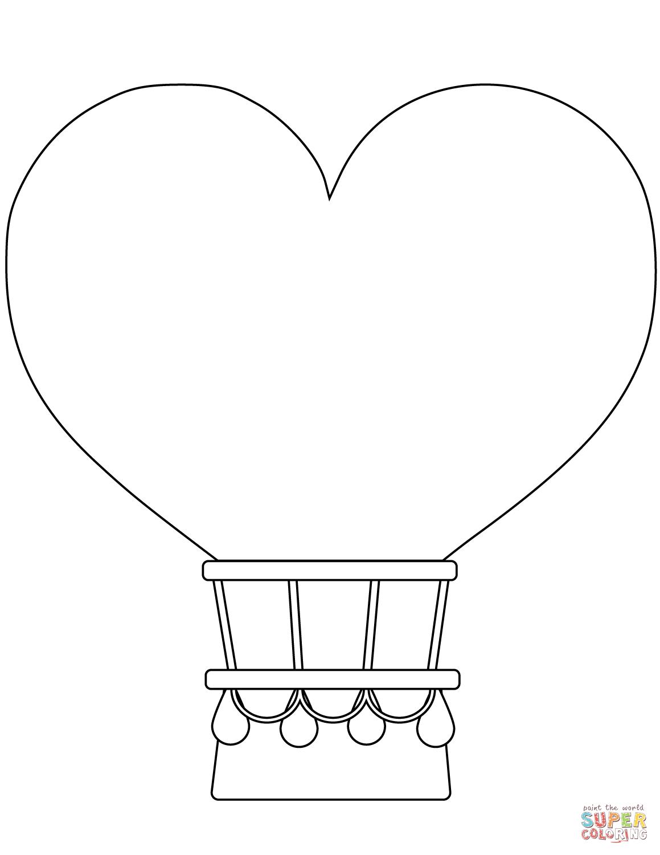 Heart Shaped Hot Air Balloon Coloring Page