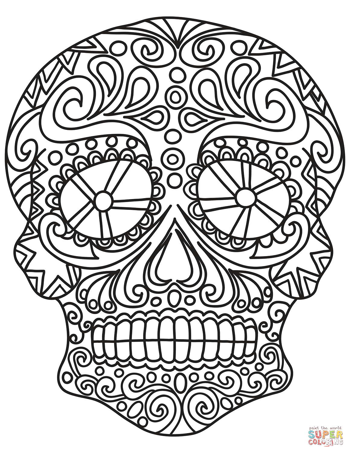 Pop Art Sugar Skull Coloring Page