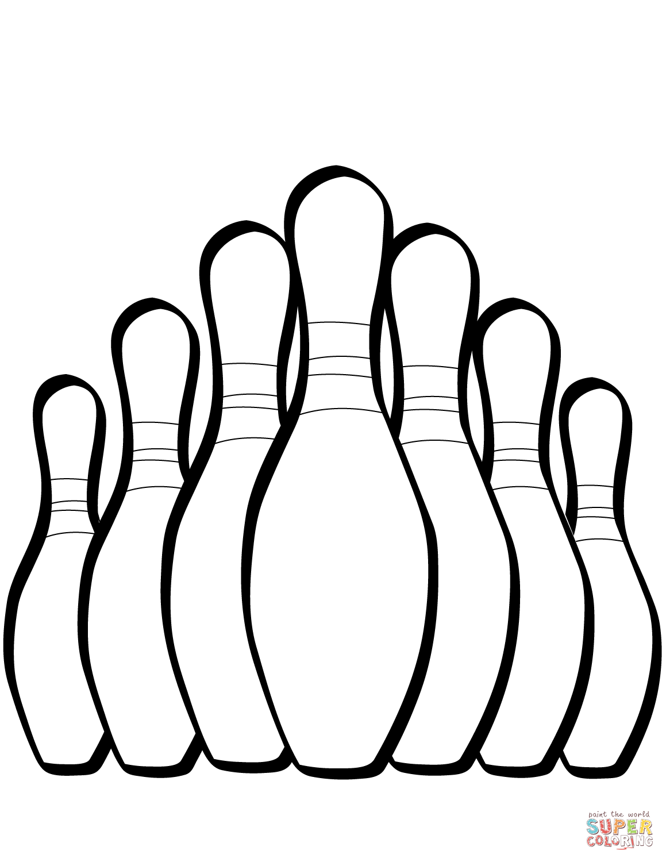 Seven Bowling Pins Coloring Page