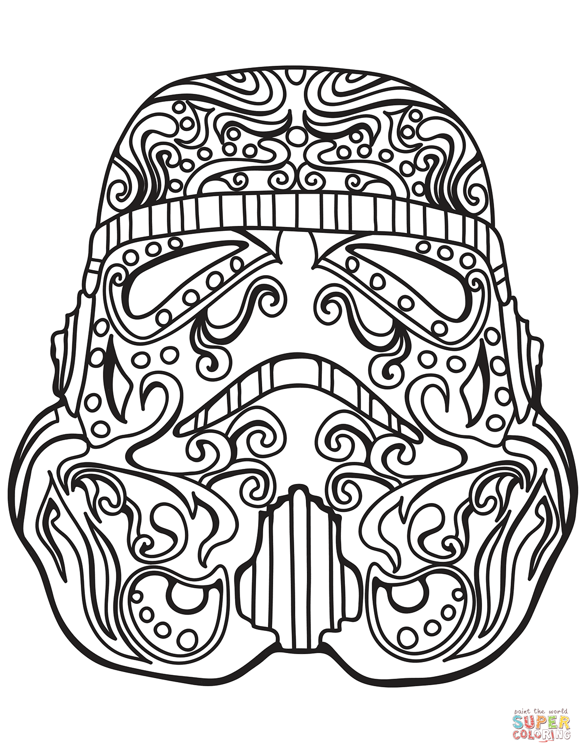 Star Wars Stormtrooper Sugar Skull Coloring Page