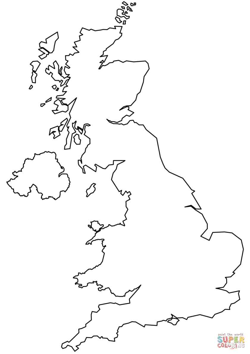 united kingdom blank outline map coloring page  free