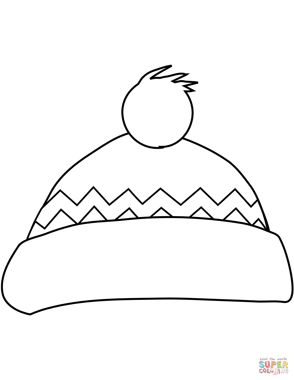 Winter Bobble Hat Coloring Page Free Printable Coloring Pages