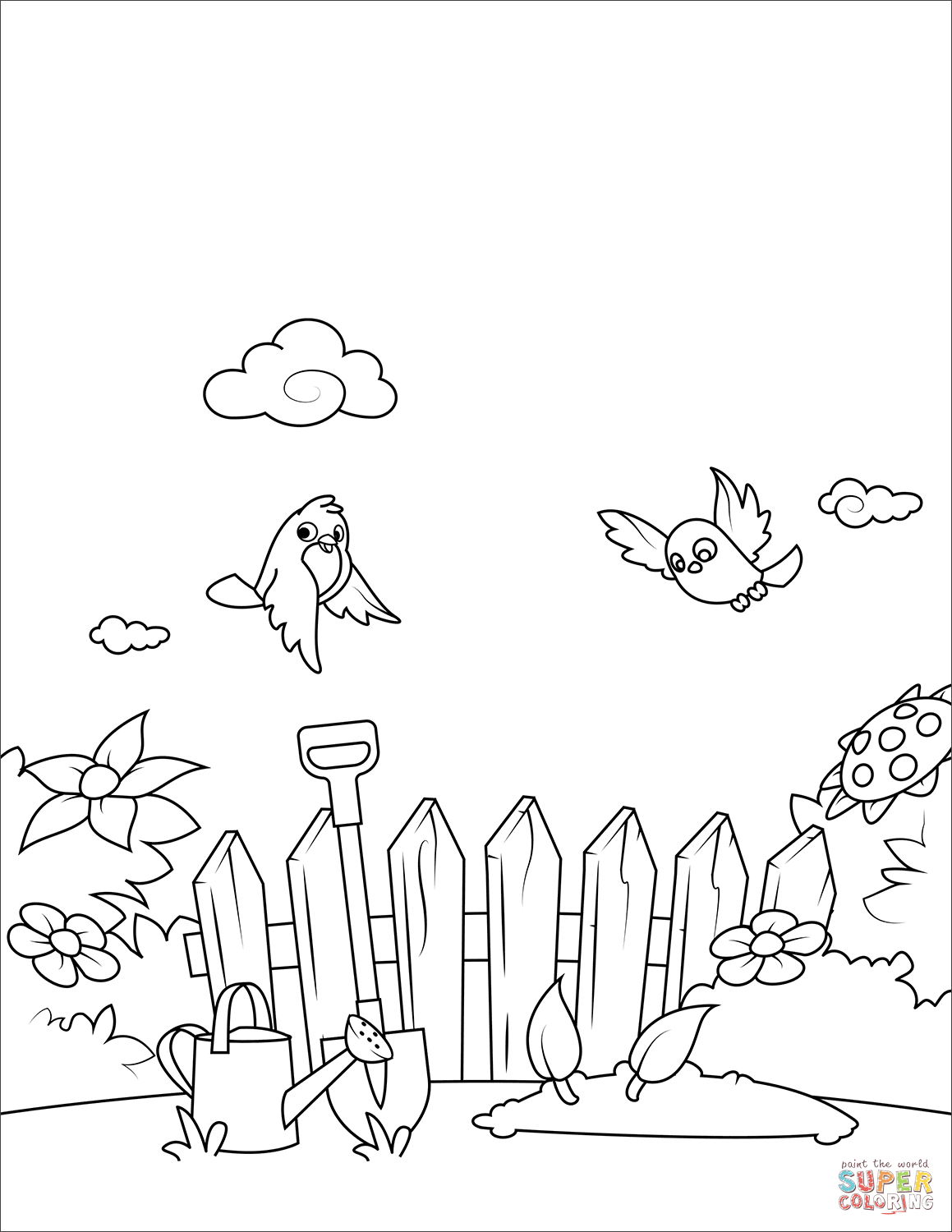 Birds Fly Over The Garden Coloring Page