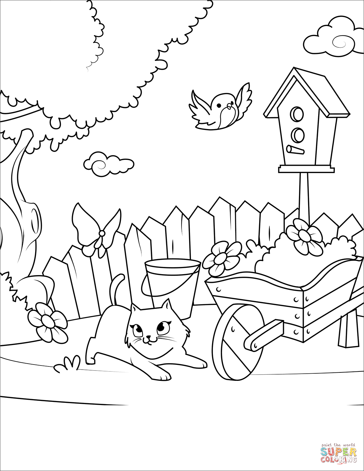 Cat Playing With A Butterfly In The Yard Coloring Page