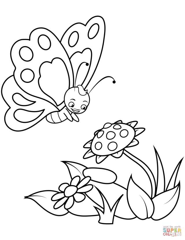 Cute Butterfly and a Sunflower coloring page  Free Printable