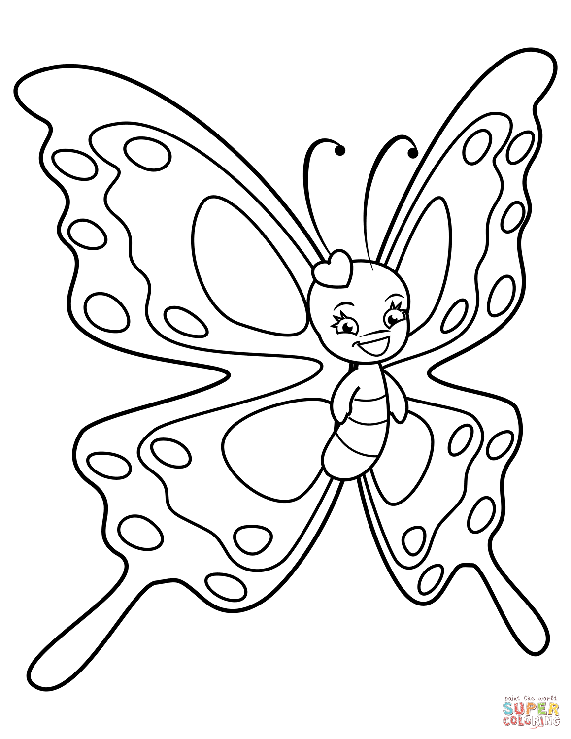 Cute Butterfly With Sweet Smile Coloring Page