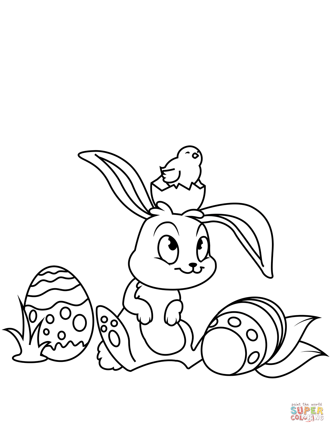 Cute Easter Bunny And Chick Coloring Page