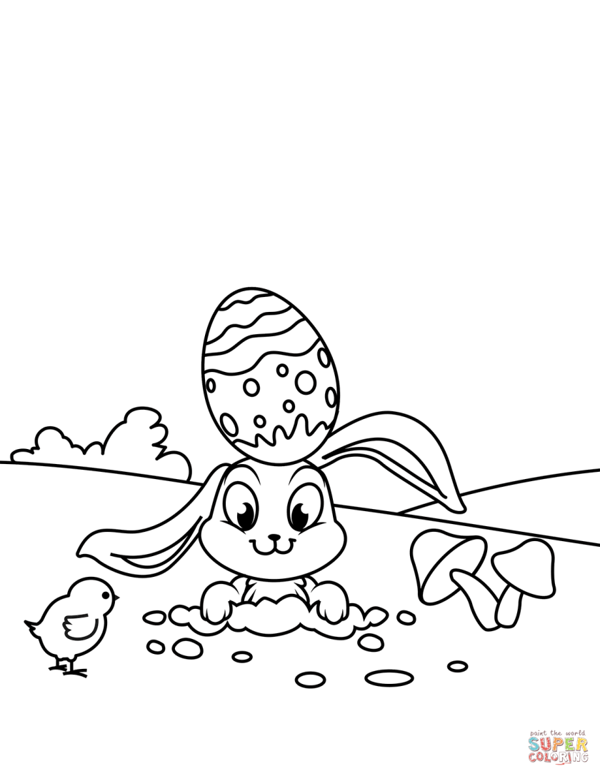 cute easter chick and rabbit coloring page  free