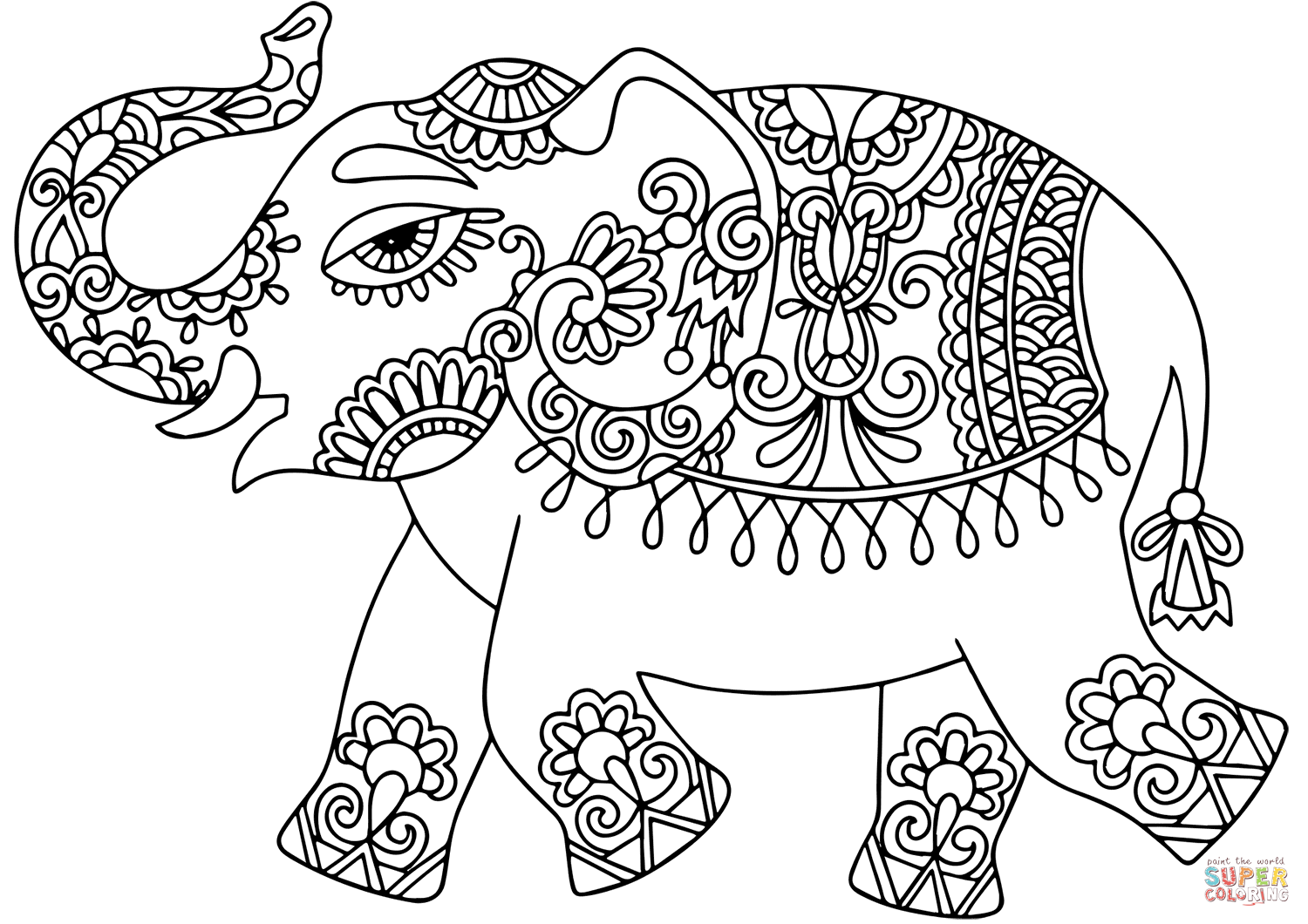 Elephant With Indian Pattern Coloring Page