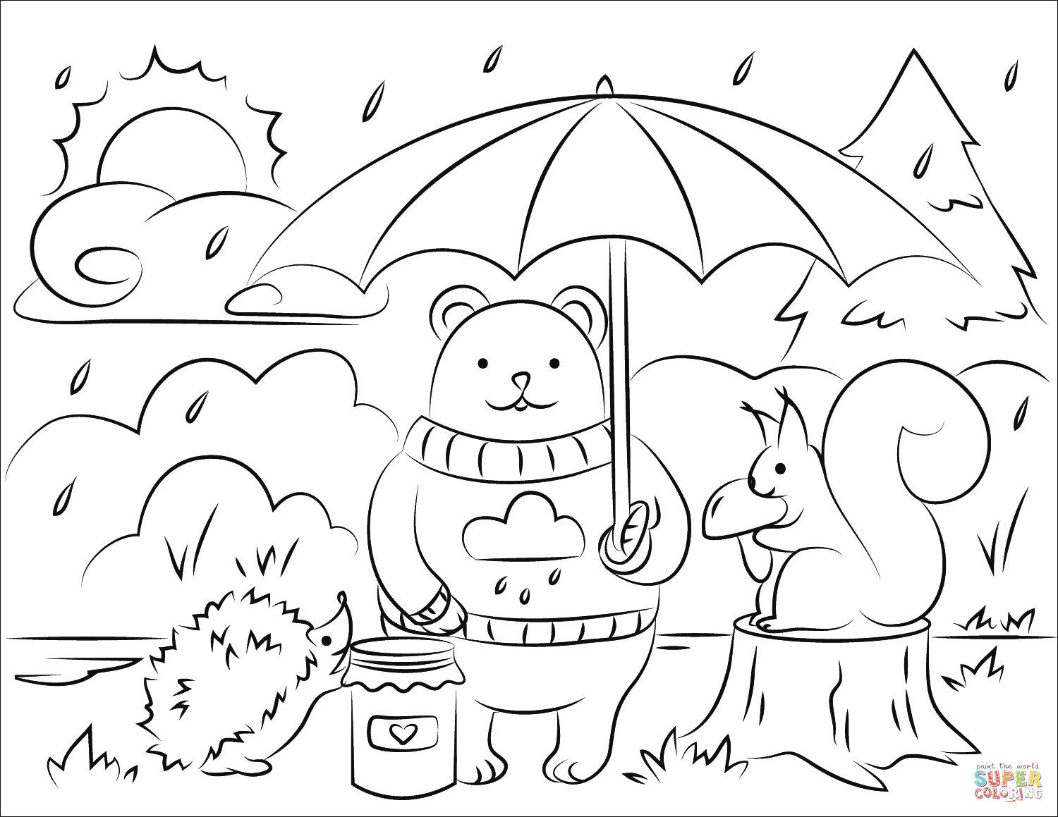Fall Animals Coloring Page