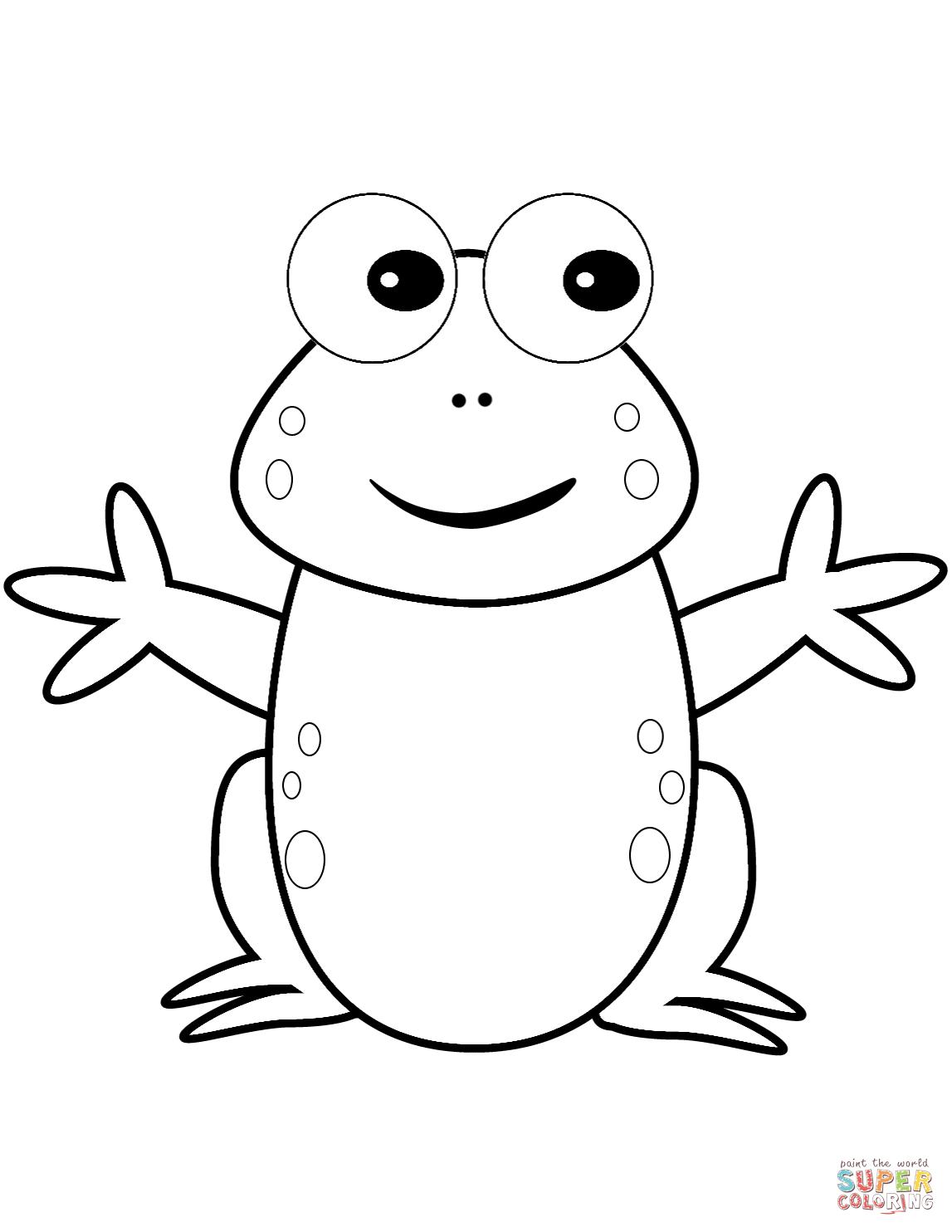 Happy Cartoon Frog Coloring Page