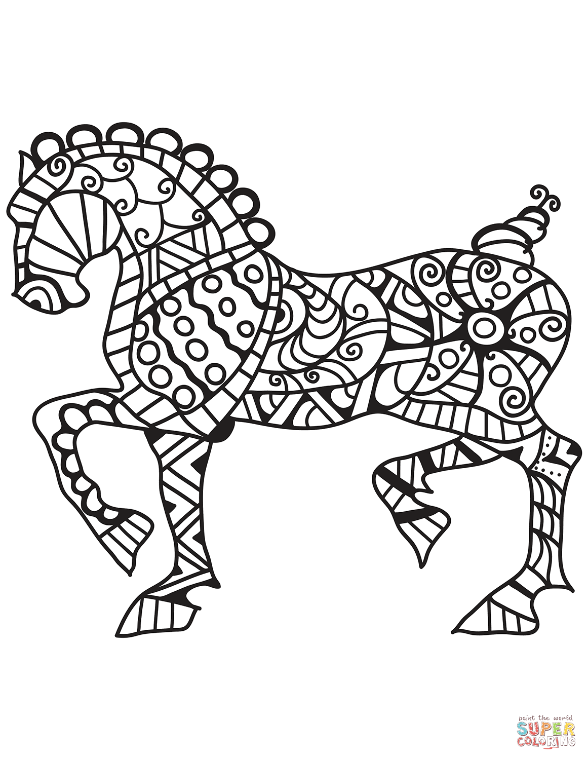 Horse Zentangle Coloring Page