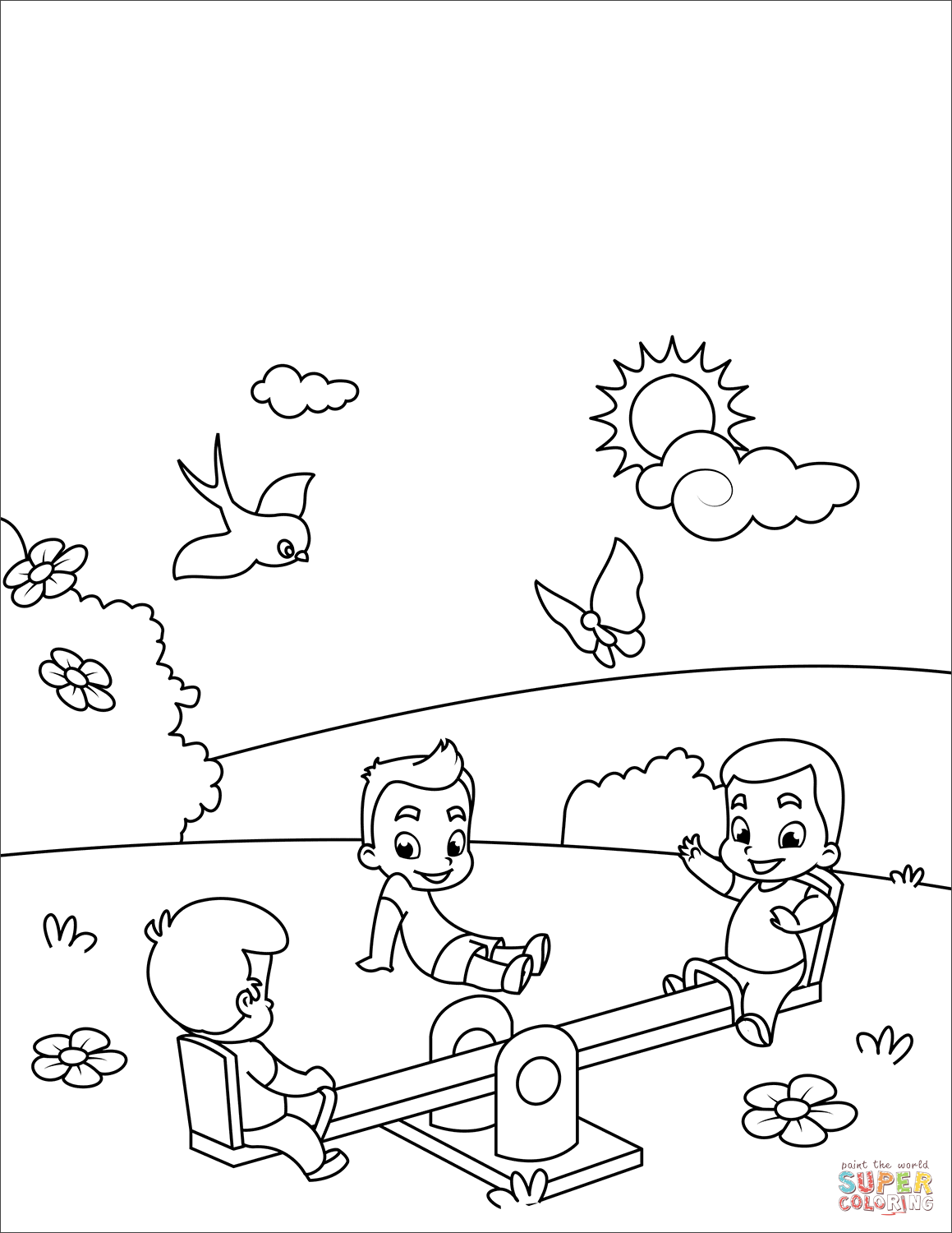 Kids Play At Seesaw Coloring Page