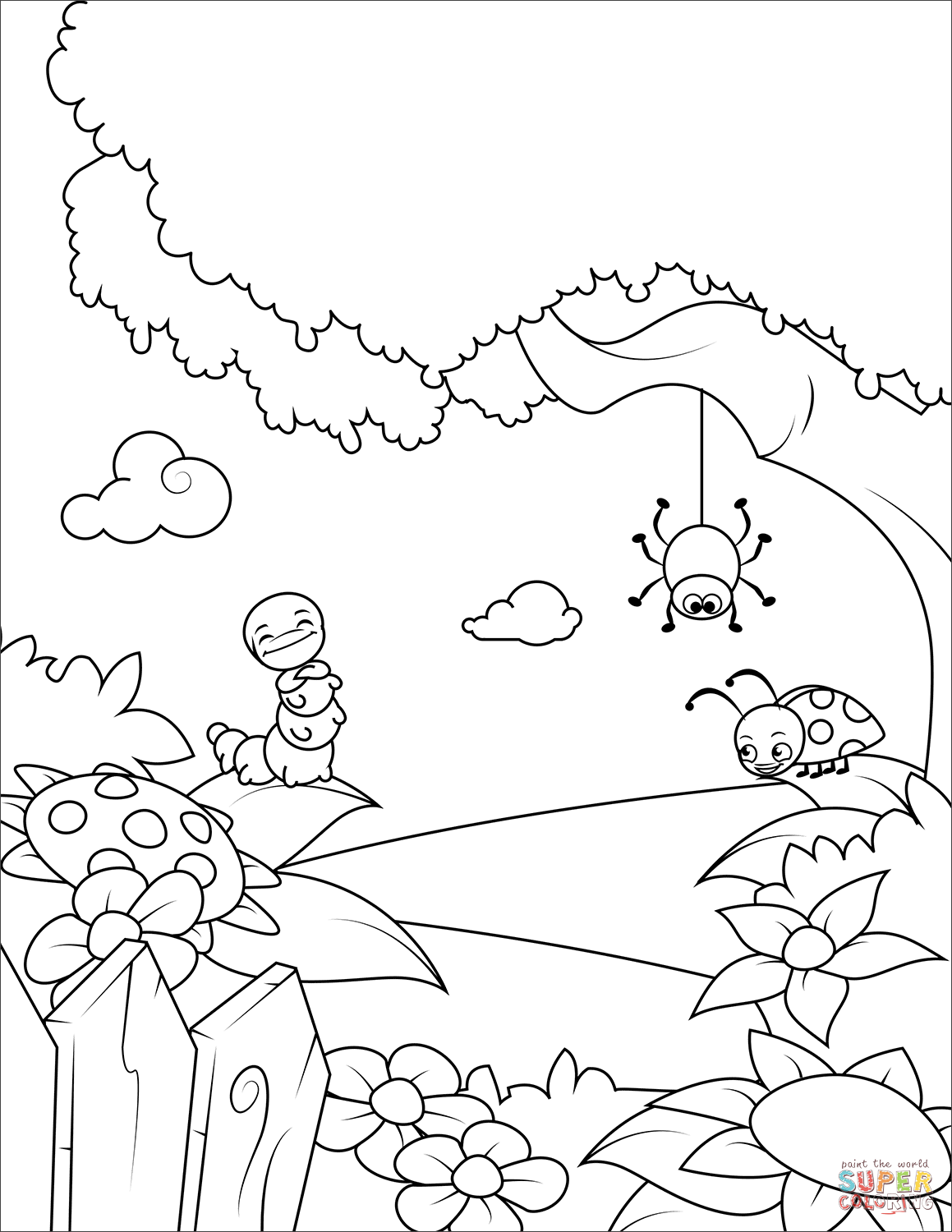 Lovely Insects Rejoice In Spring Warmth Coloring Page