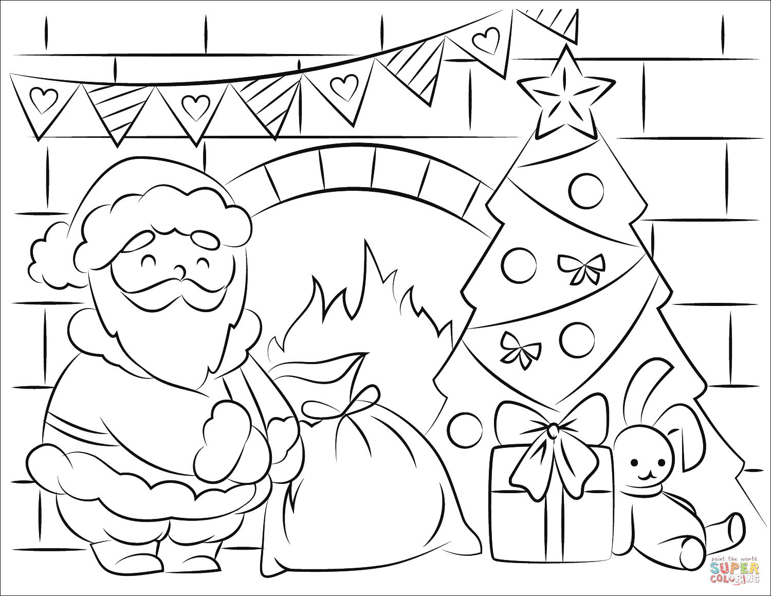 Santa Claus Bringing Presents In Christmas Coloring Page