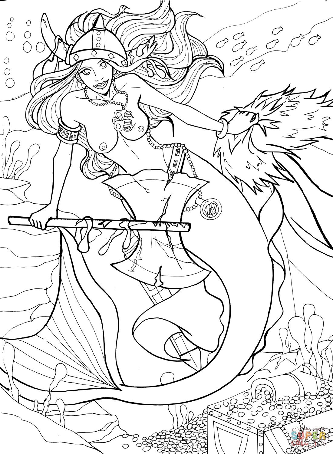 Viking Mermaid Coloring Page