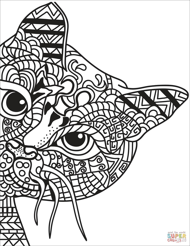 Dibujo De Gato Zentangle Para Colorear