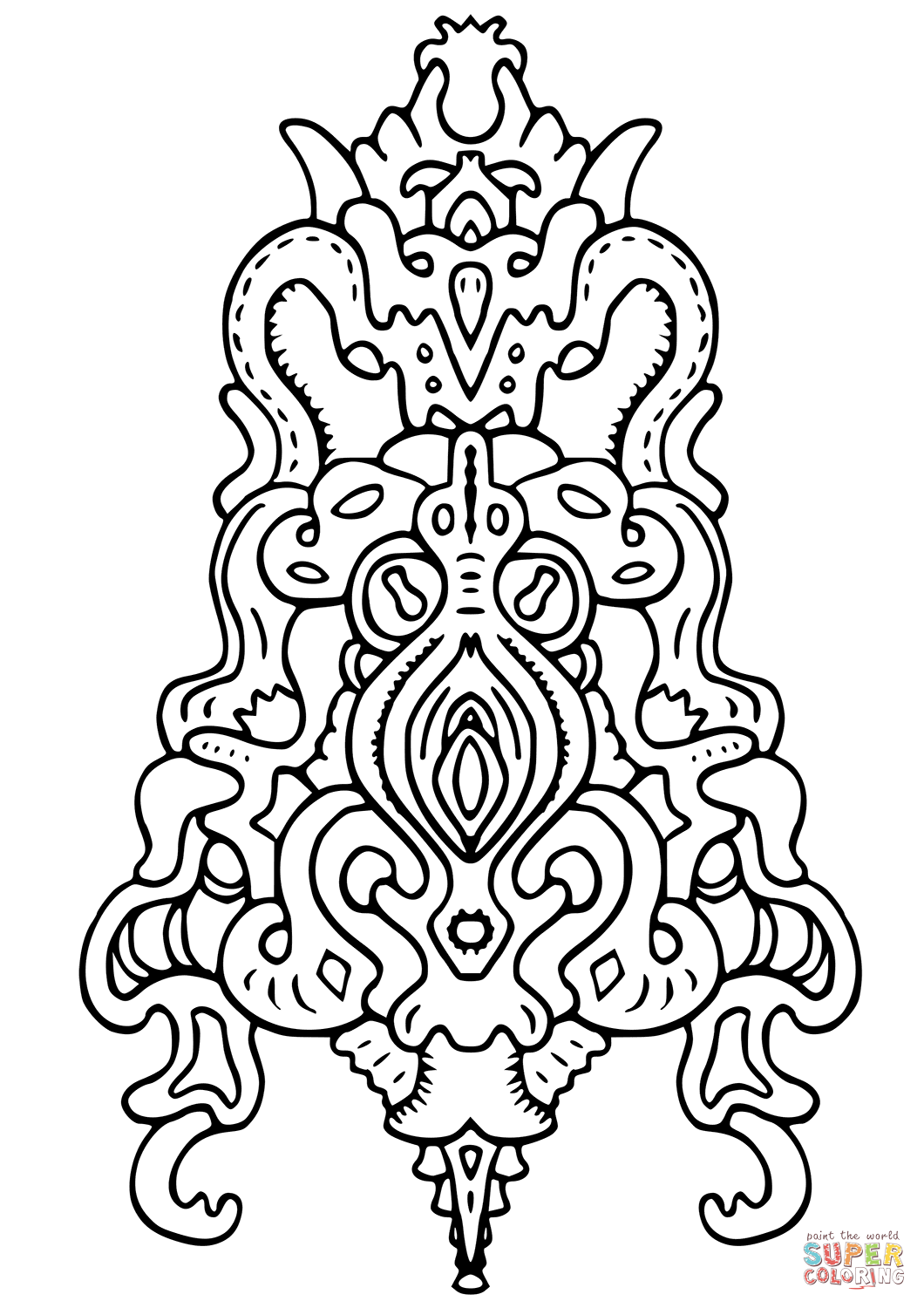 Vegepedia Abstract Pattern Coloring Page