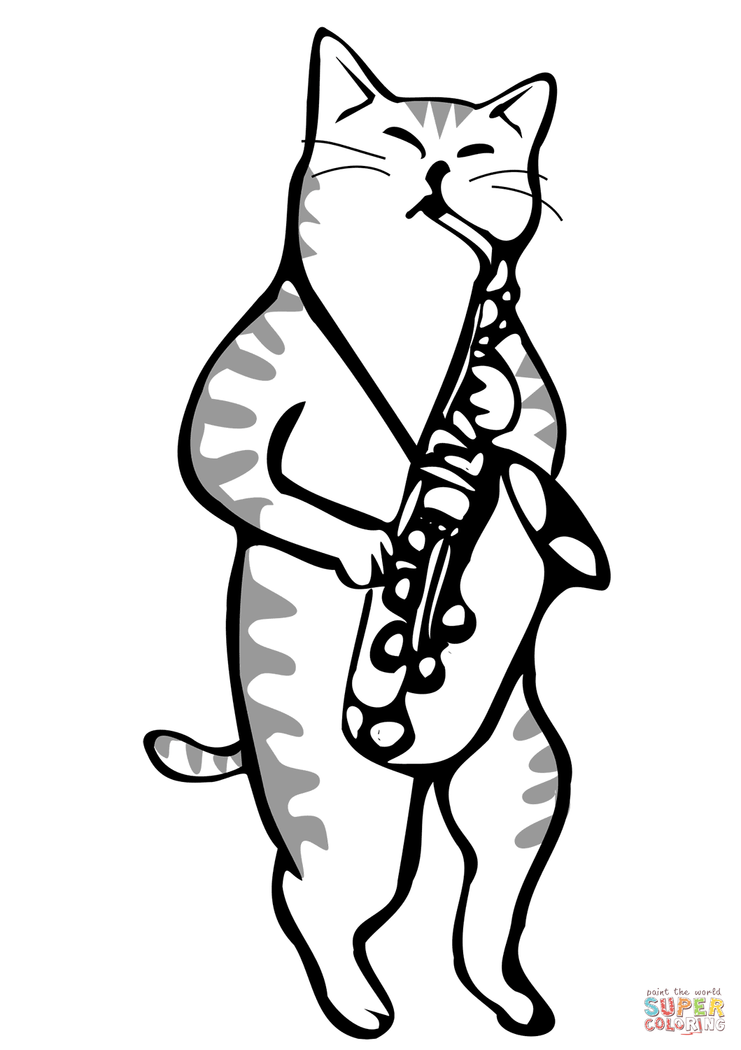Cat Playing A Saxophone Coloring Page