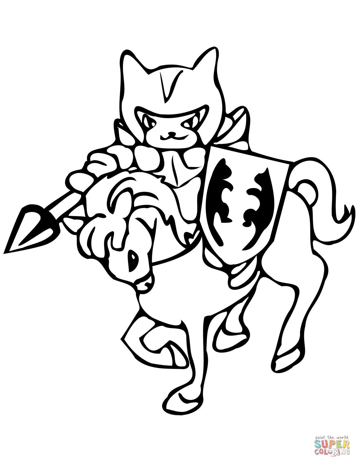 Cat The Knight Coloring Page