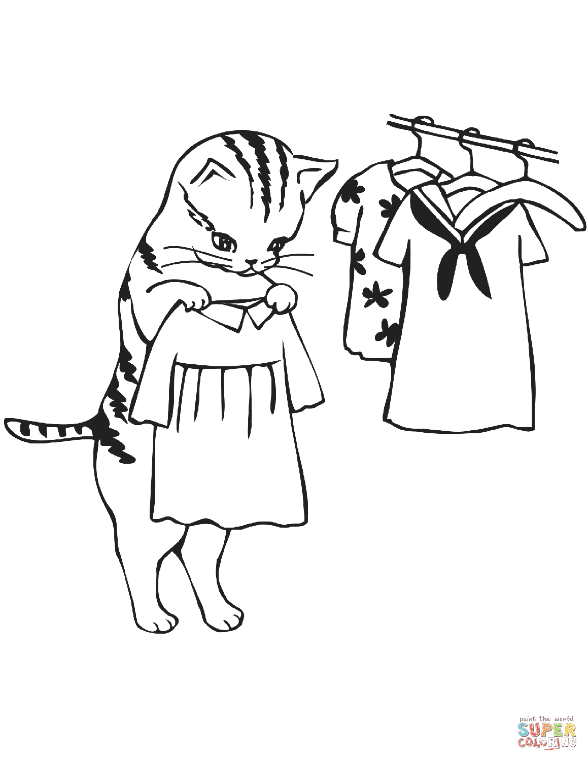 Cat Trying Clothes Coloring Page