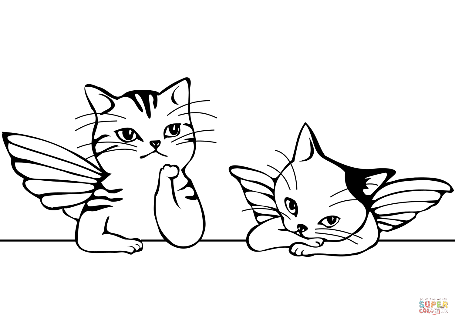 Raphael S Two Cute Cats Angels Coloring Page