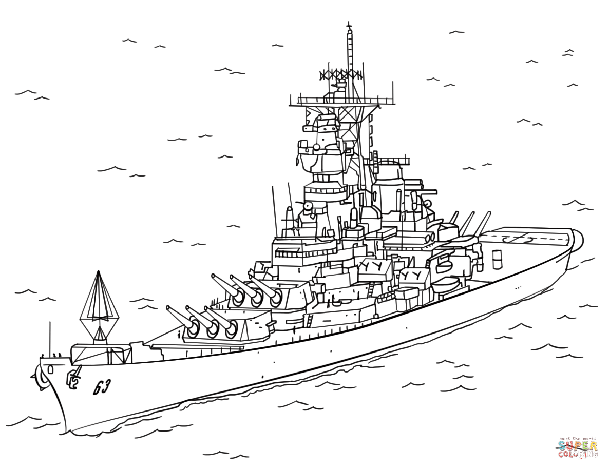 Uss Missouri Coloring Page