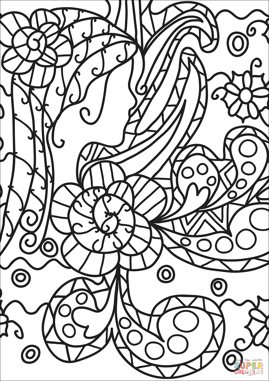 Abstract Doodle Coloring Page