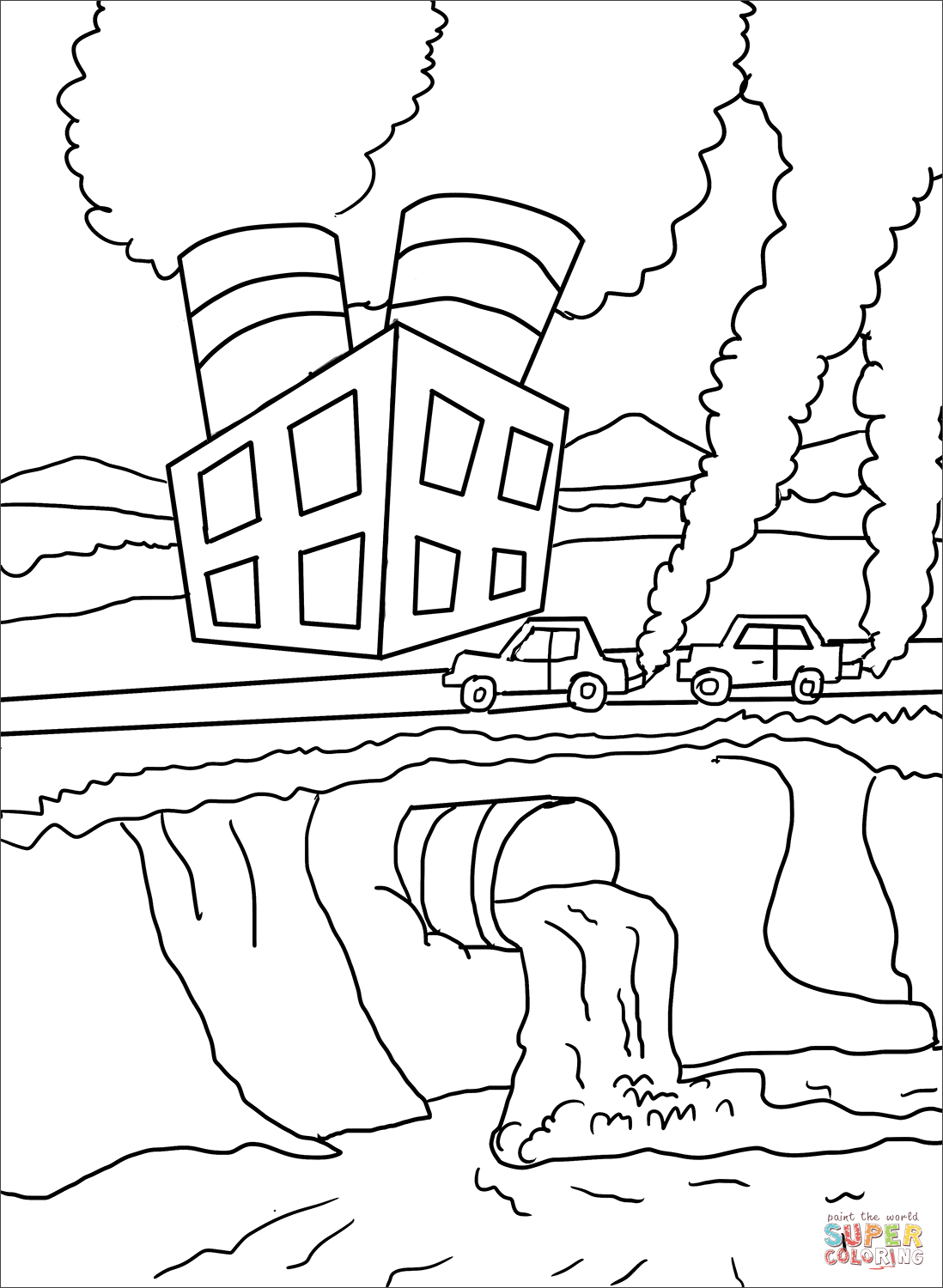 Air And Water Pollution Coloring Page
