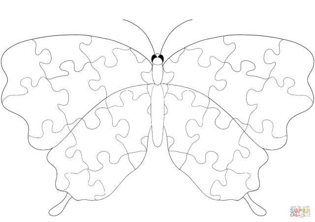 Butterfly with Jigsaw Puzzle Pattern coloring page  Free